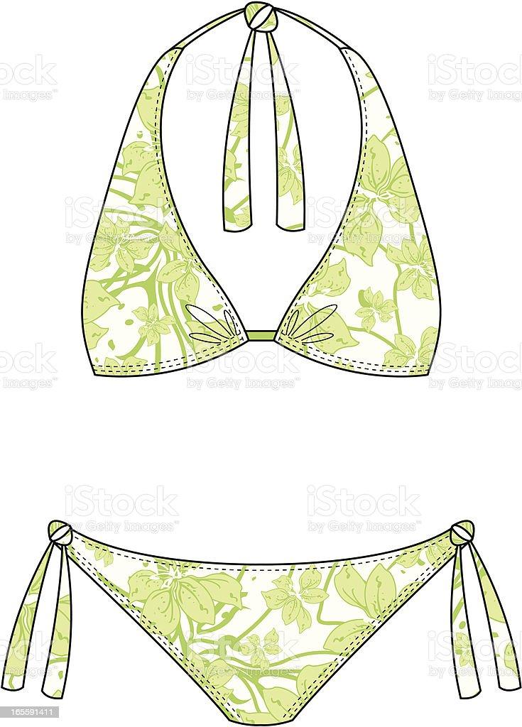 Flower Print Halter Neck Bikini royalty-free stock vector art