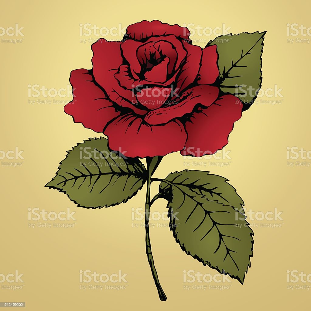 Flower red rose. Hand drawing. Bud, red petals, green leaves royalty-free stock vector art