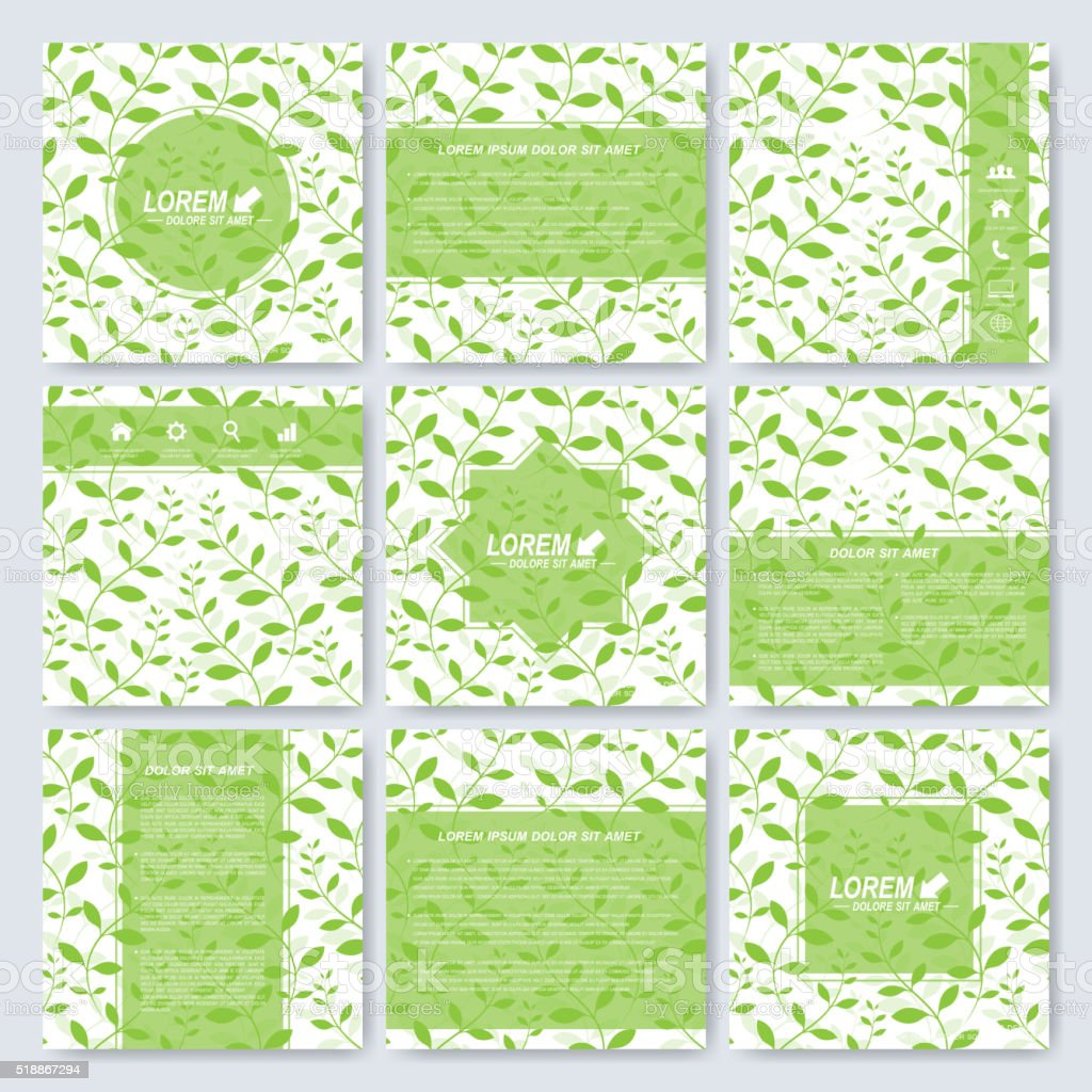Flower set of square template brochure, cover,  layout. Background with vector art illustration