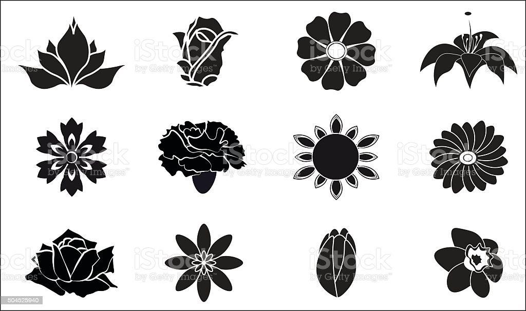 flower set vector art illustration
