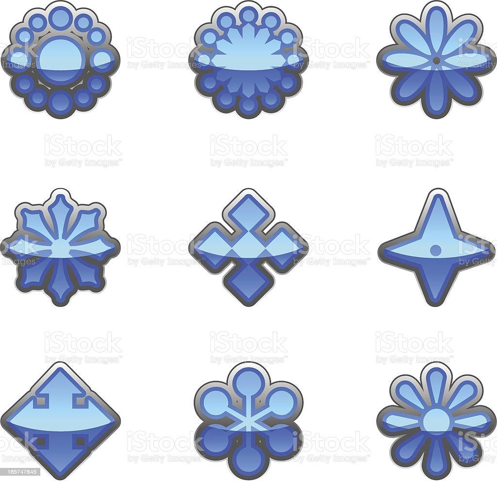 flower shape icon set collection vector art illustration