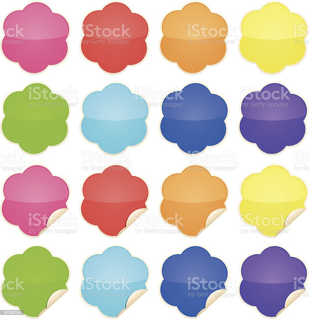 Flower Shiny Stickers royalty-free stock vector art