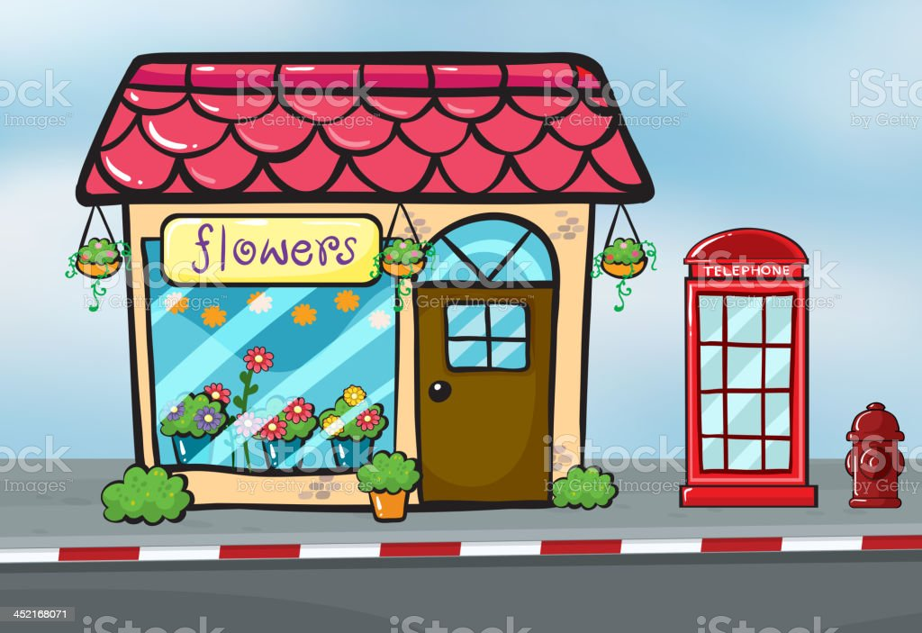flower shop and a callbox royalty-free stock vector art