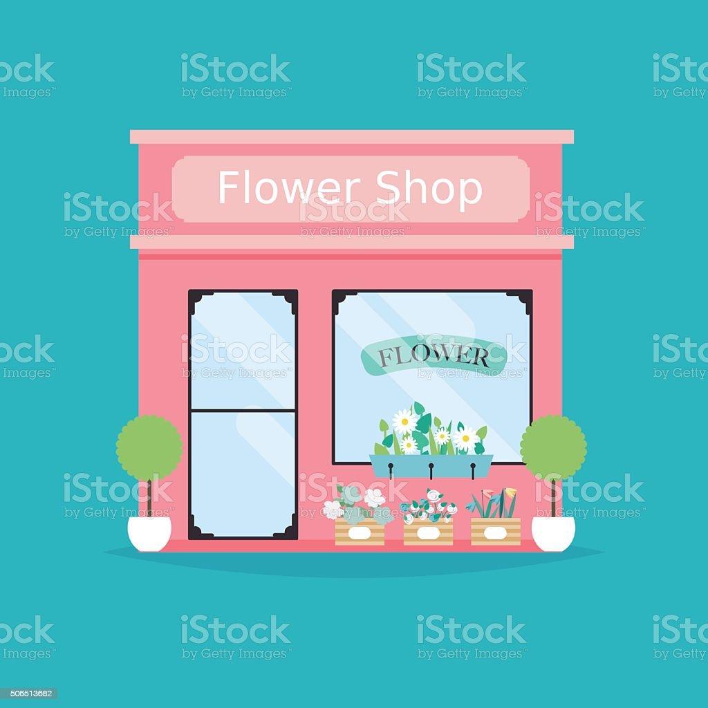 Flower shop facade. Vector illustration of flower shop building. vector art illustration