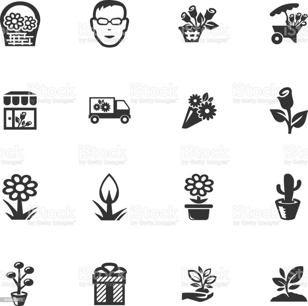 Flower shop icons set vector art illustration