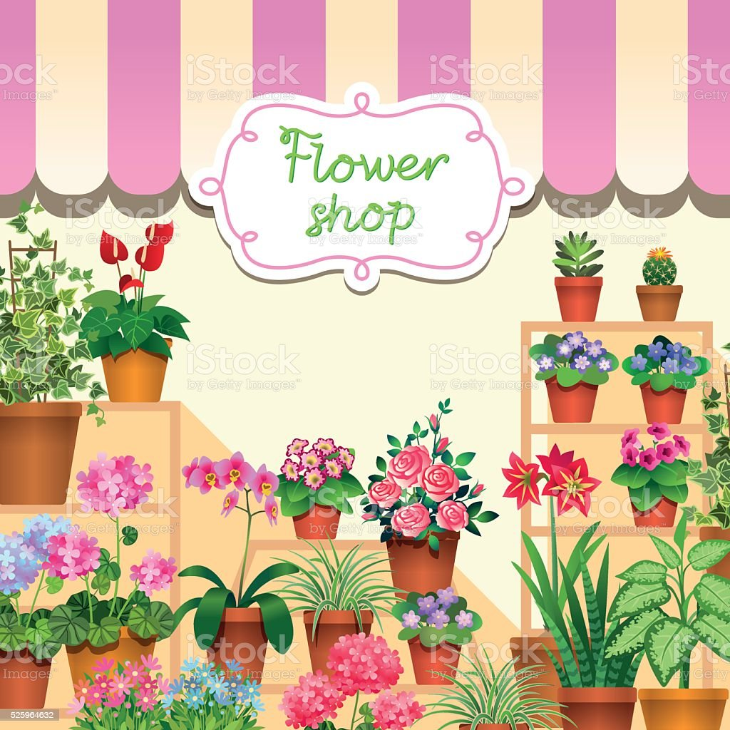 flower shop vector art illustration