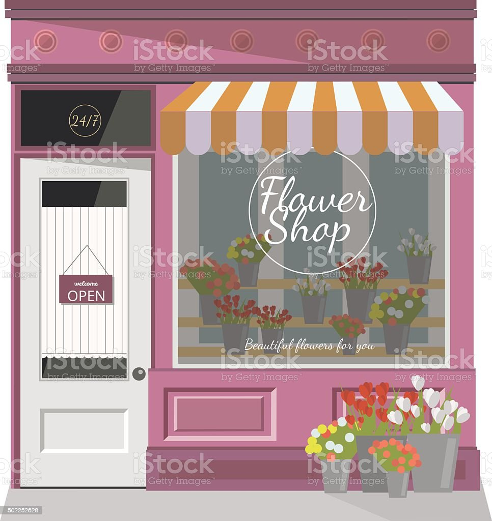 Flower shop.The facade of the store.Flat vector illustration vector art illustration