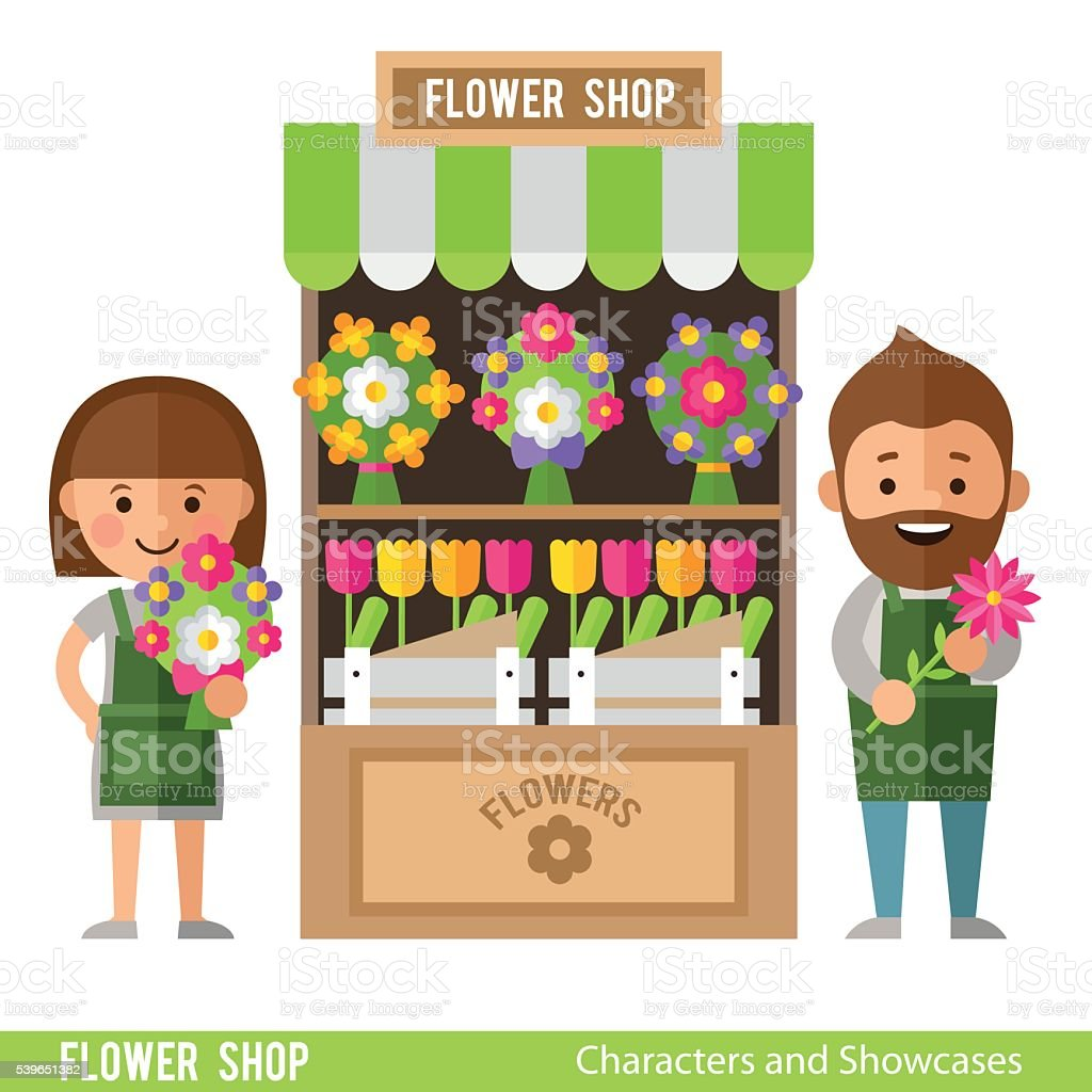 Flower Showcases and florists in a flat style. vector art illustration