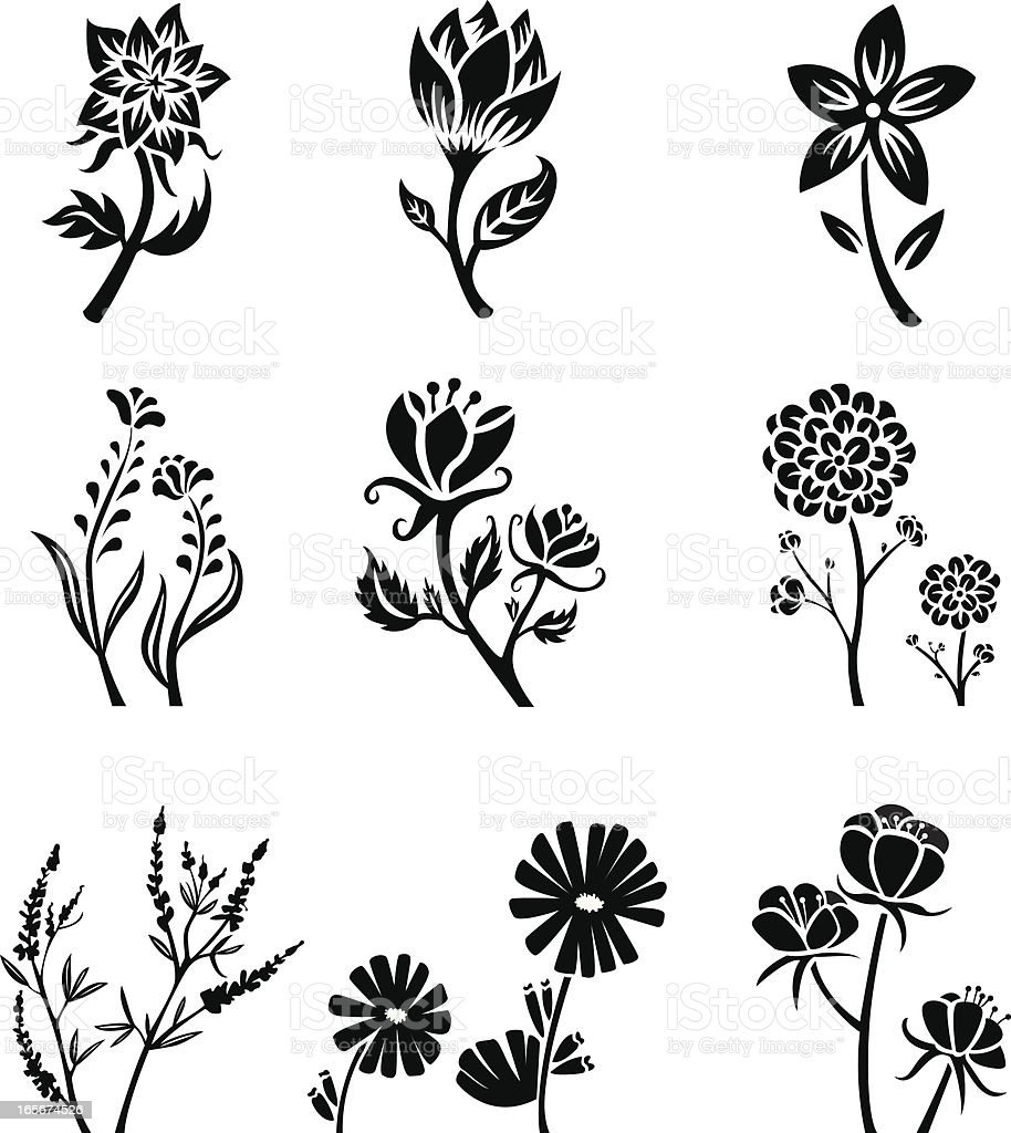 Flower silhouettes royalty-free stock vector art