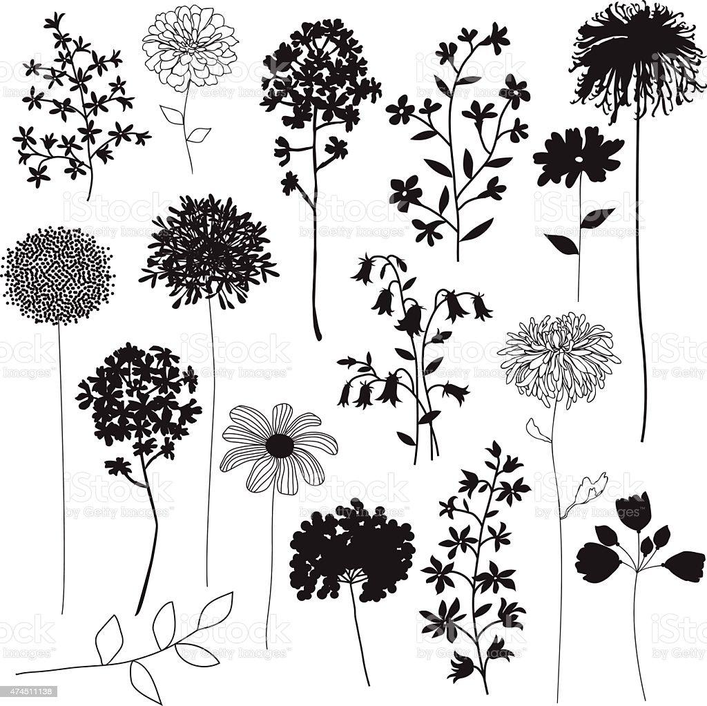 flower silhouettes vector art illustration