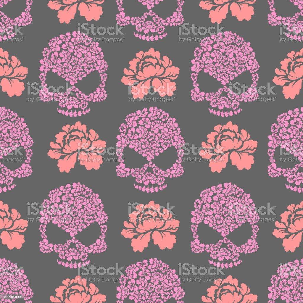 Flower skull seamless pttern. Skull of pink flowers and roses vector art illustration