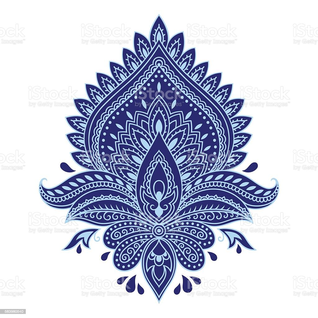 Flower template in Indian style. Ethnic  floral paisley Lotus. Boho. vector art illustration