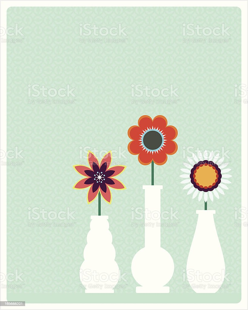 Flower Vase Trio vector art illustration