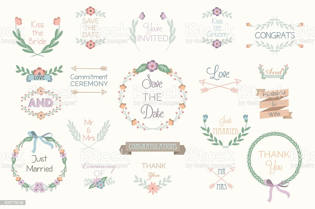 Flower Wedding Elements vector art illustration