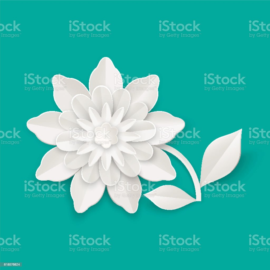 Flower With Leaves Made Of Paper Sheet Isolated Illustration Stock