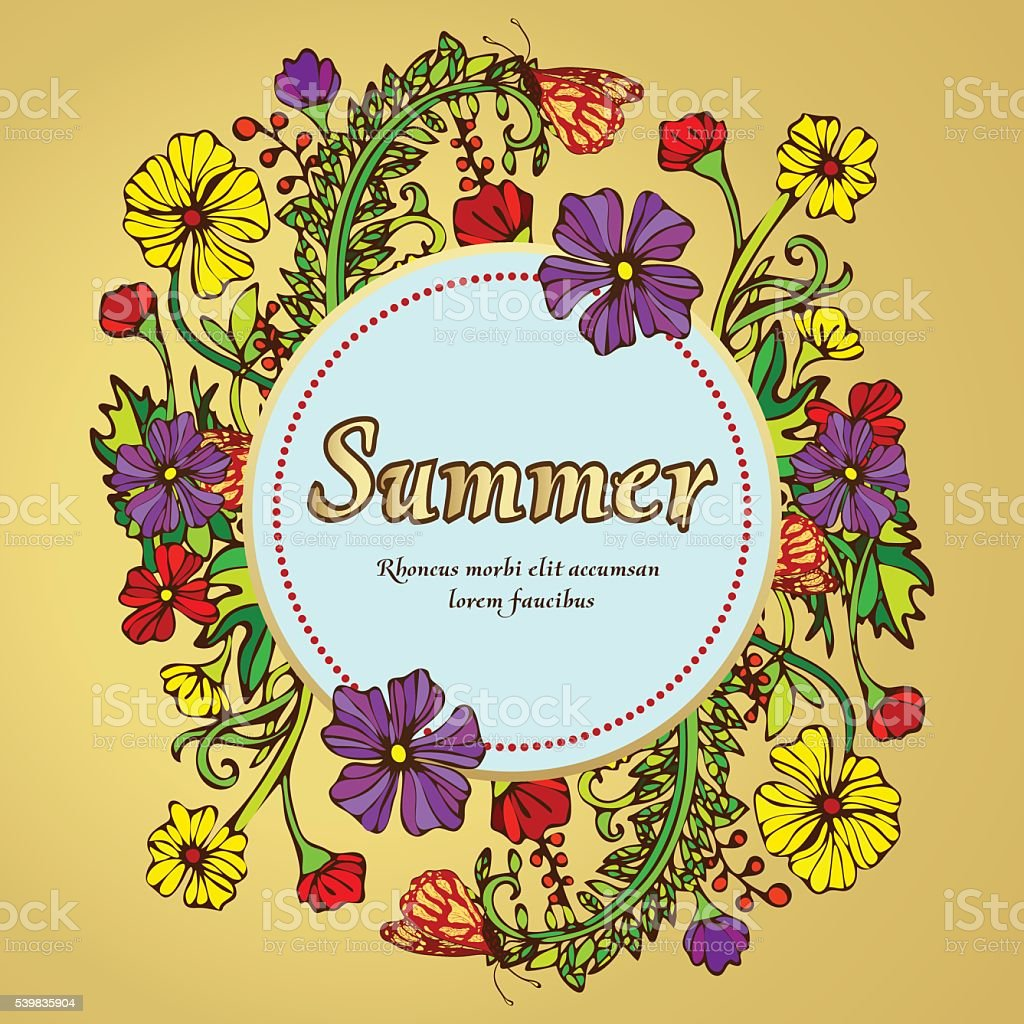 Flower wreath, garland, flower frame, border, summer landscape royalty-free stock vector art