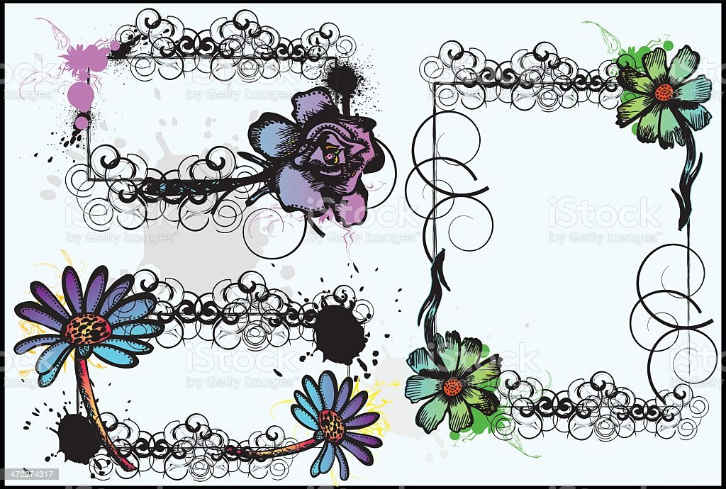flower....frame and borneos........ vector art illustration