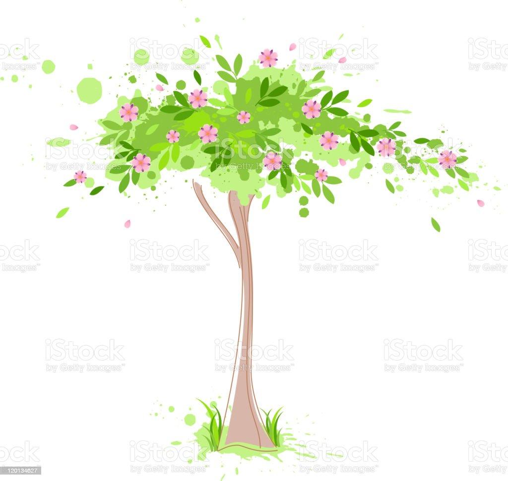 flowering green spring tree royalty-free stock vector art