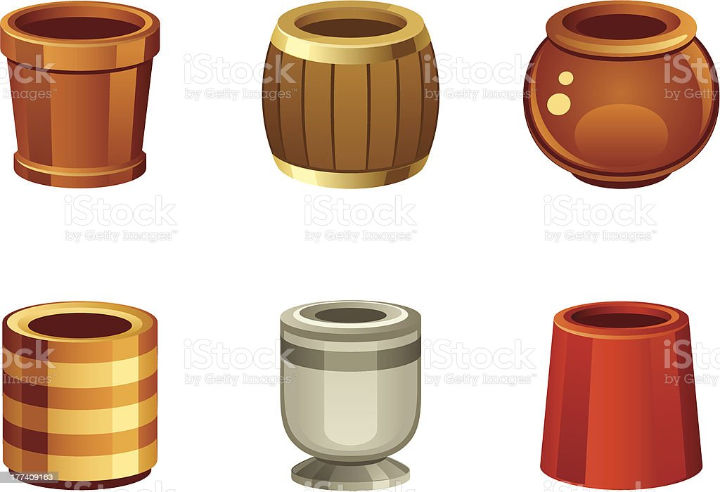 Flowerpot set royalty-free stock vector art