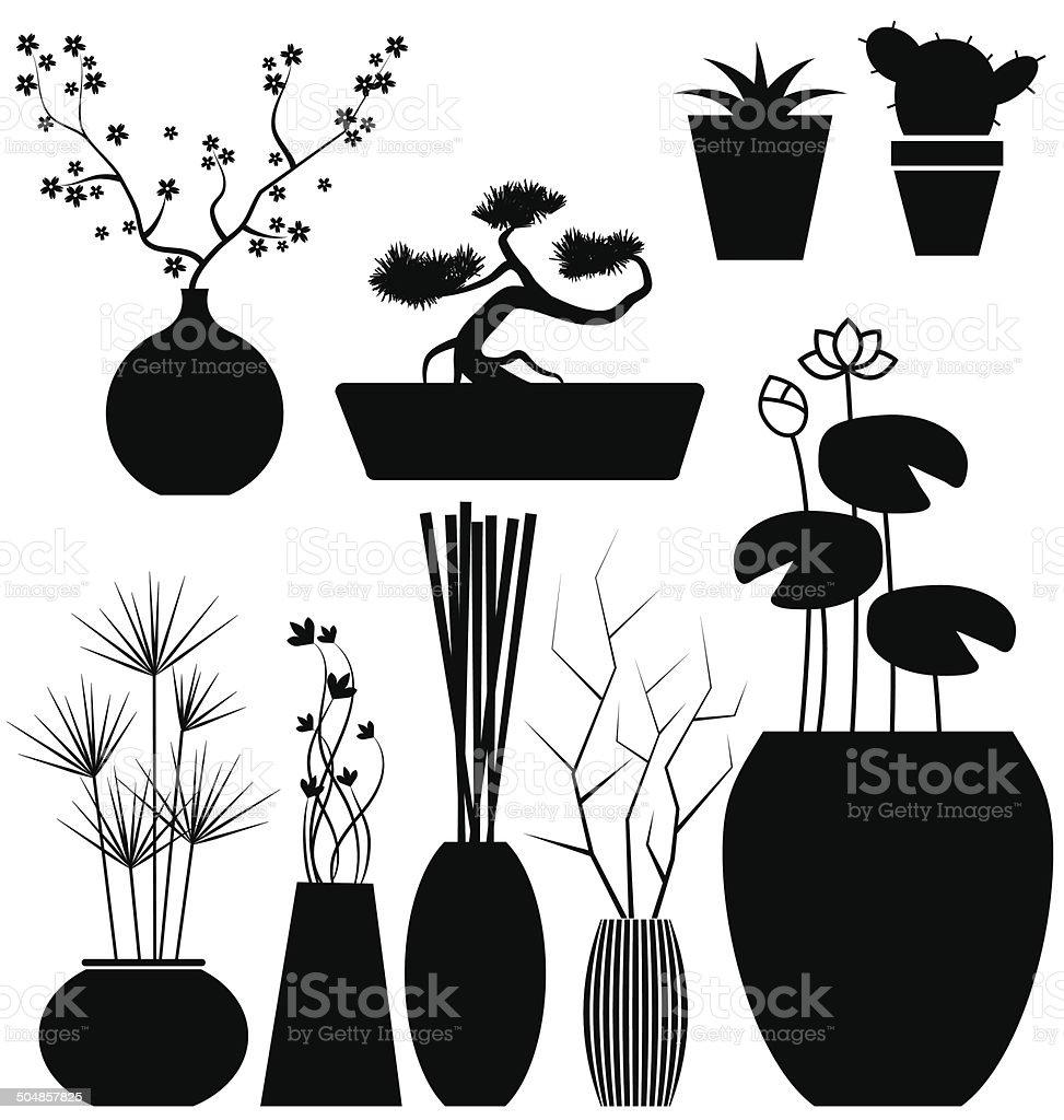 Flowerpot set vector vector art illustration