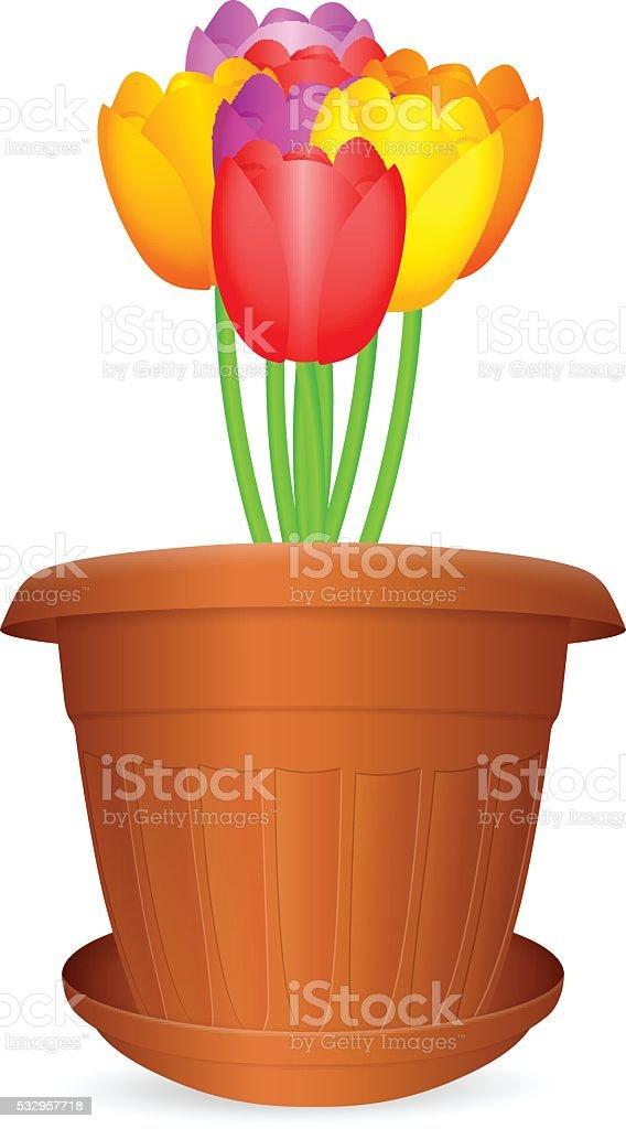 flowerpot tulips vector art illustration