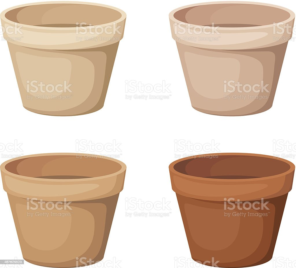 Flowerpots. Set of four vector illustrations. vector art illustration