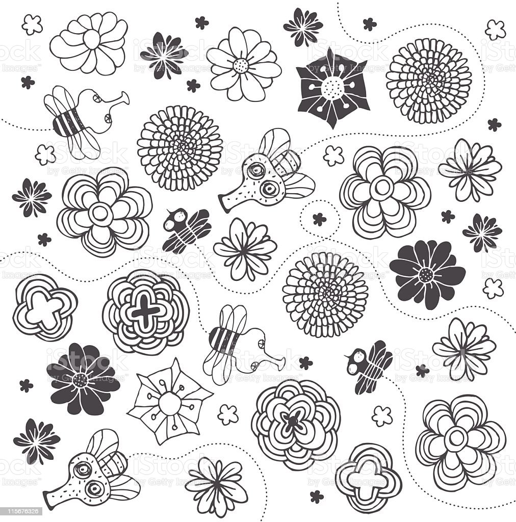 Flowers and bees pattern royalty-free stock vector art