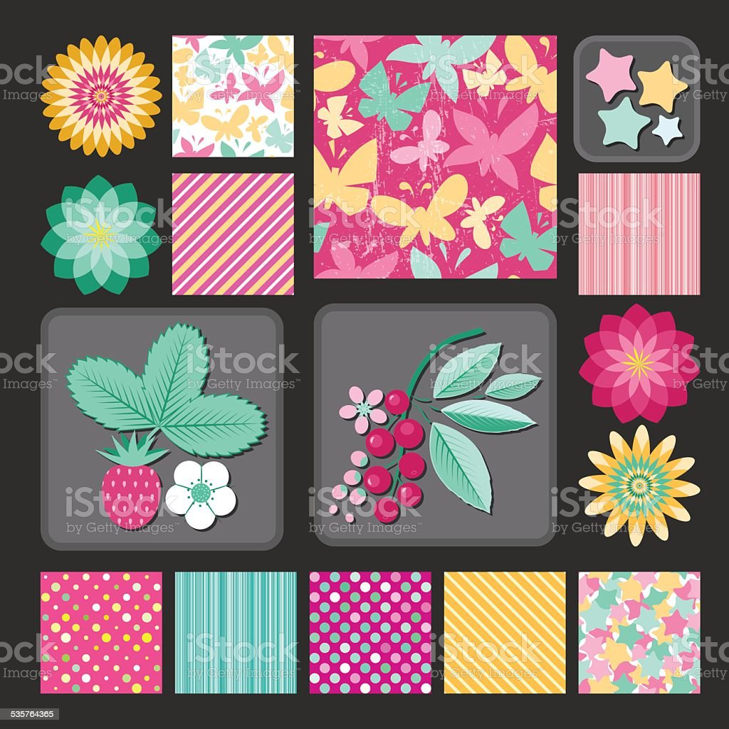 Flowers and berries, stars and dots. Design collection vector art illustration