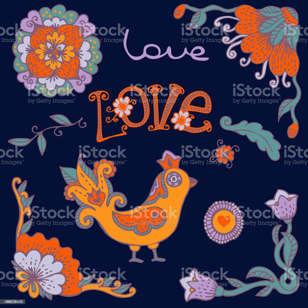 Flowers and Bird royalty-free stock vector art