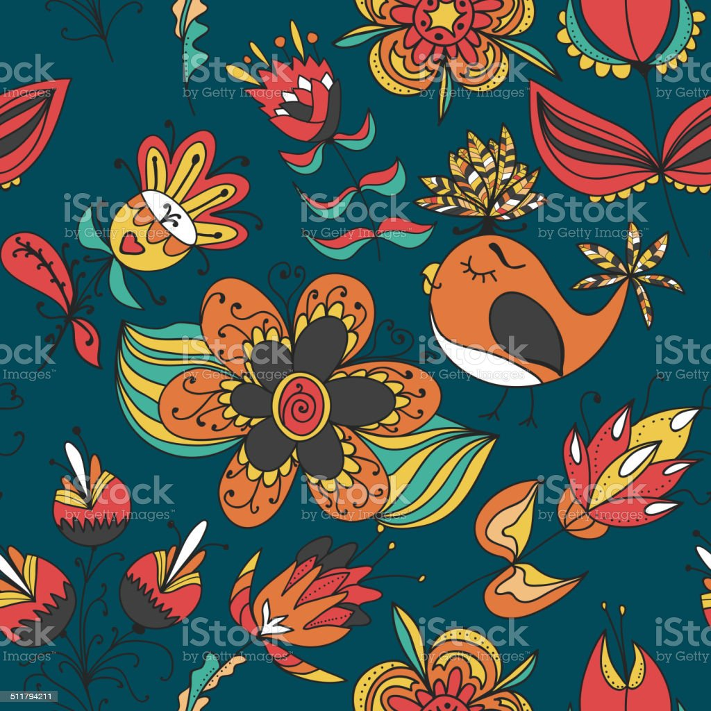 flowers and birds seamless texture pattern vector art illustration