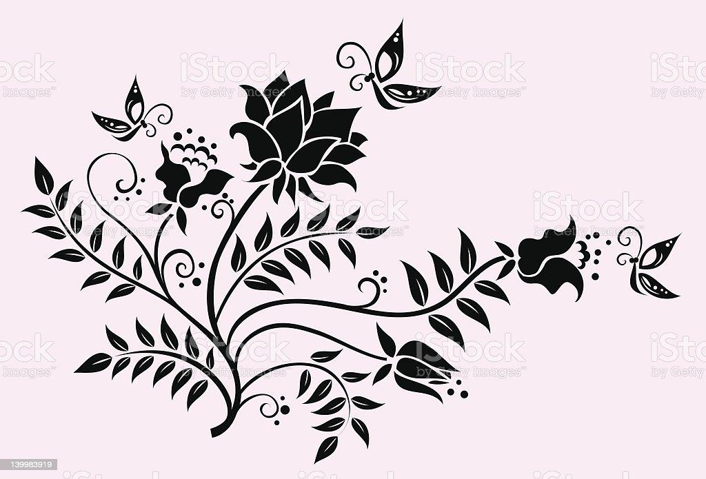 Flowers and Butterflies vector art illustration