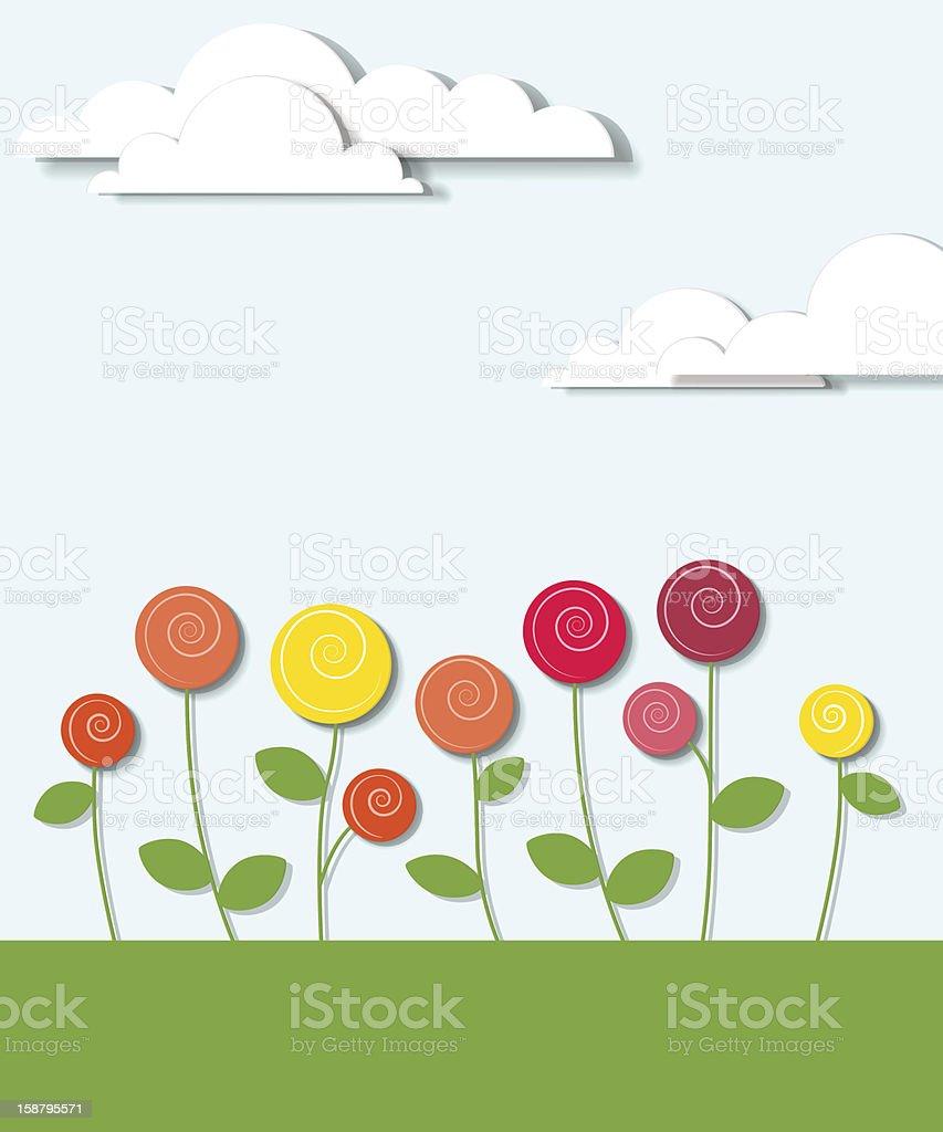 Fleurs et de nuages stock vecteur libres de droits libre de droits