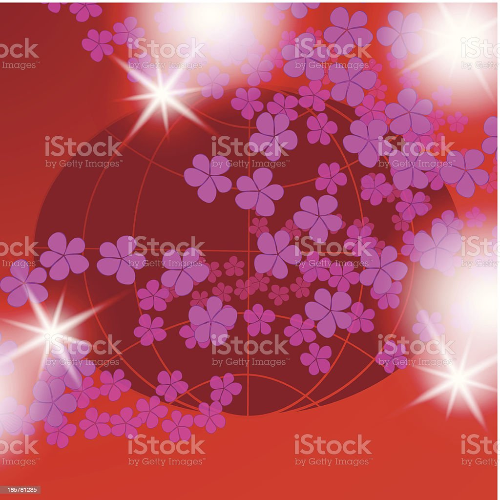 flowers and cosmos, floral background royalty-free stock vector art