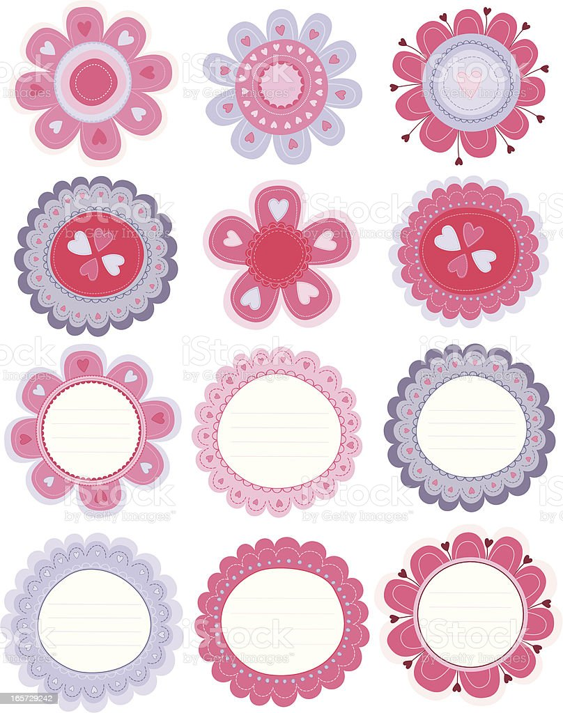 Flowers and Labels vector art illustration