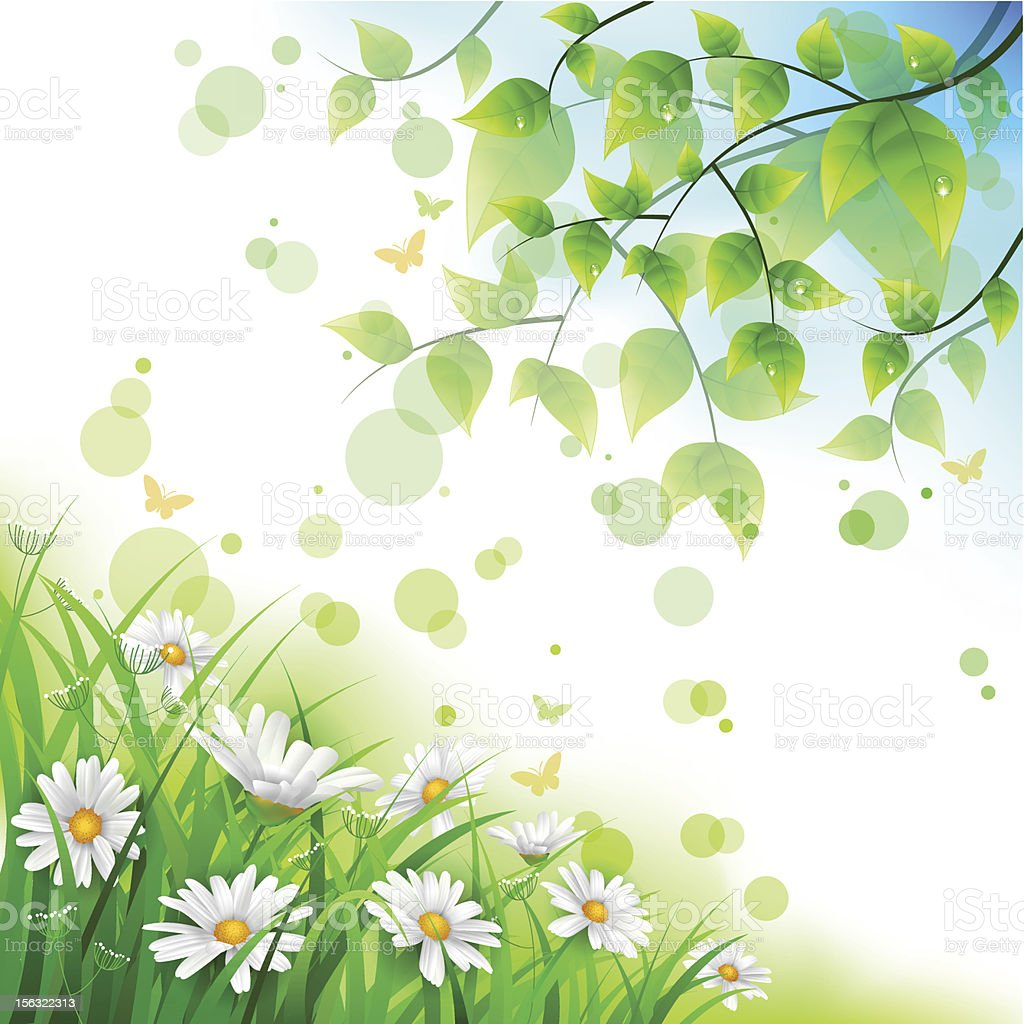 Flowers and leafs  background royalty-free stock vector art