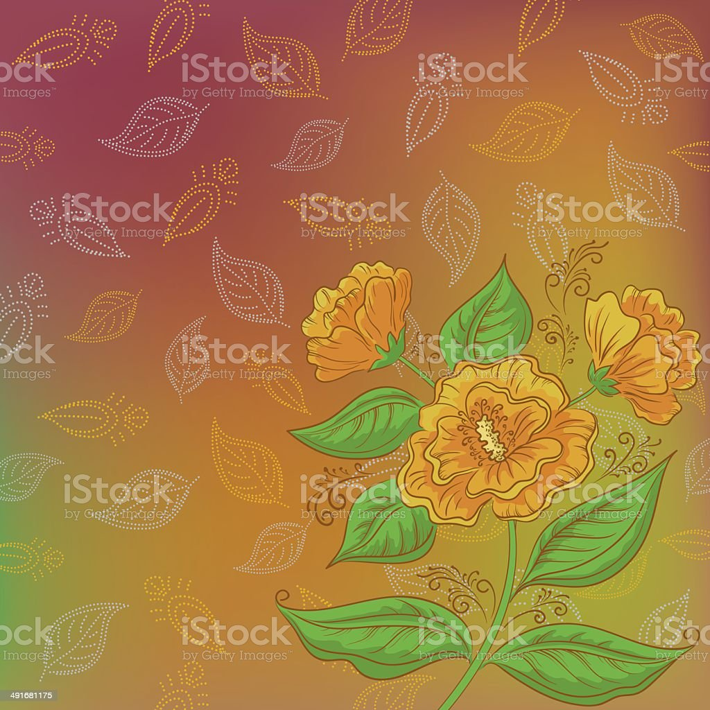 Flowers and leafs contours royalty-free stock vector art