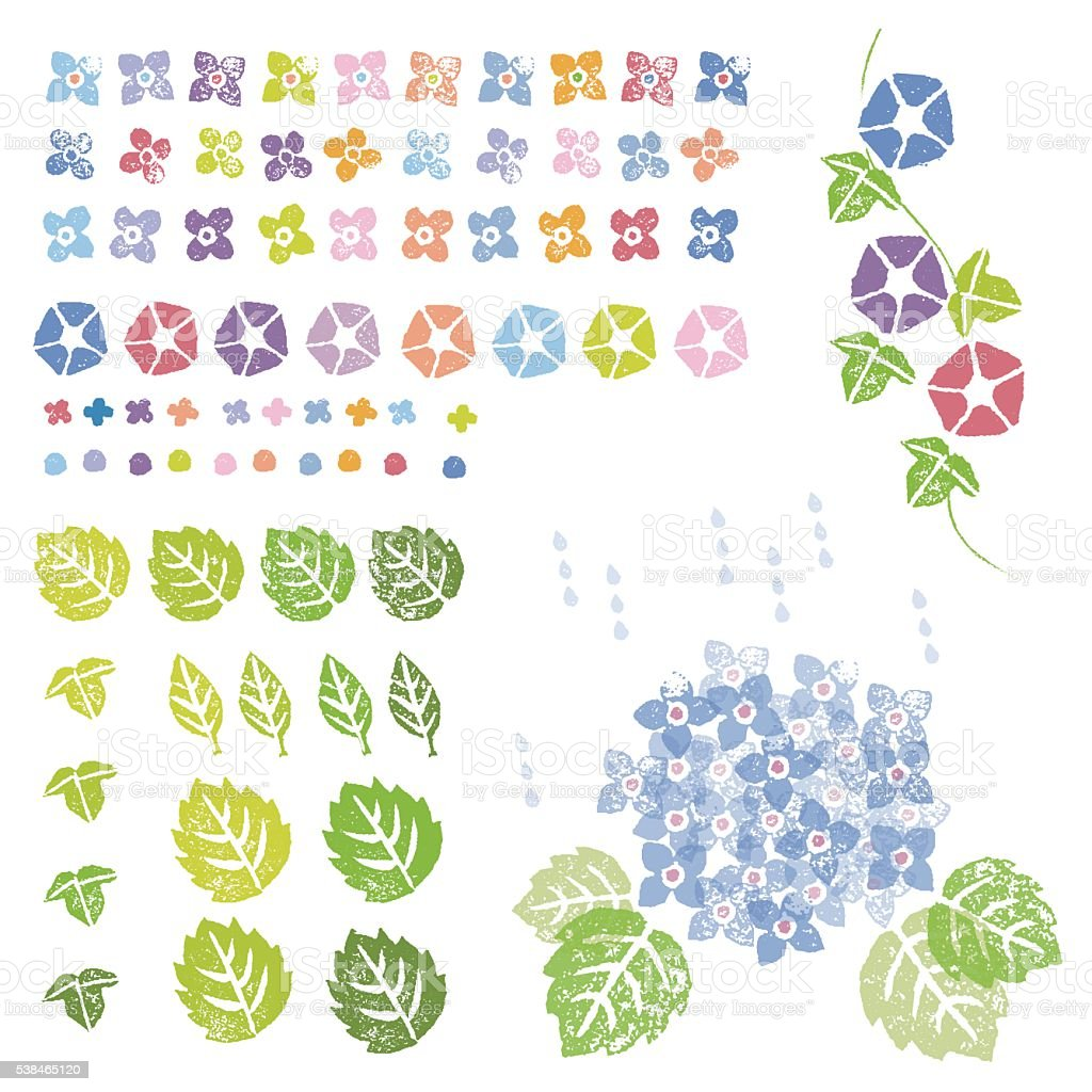 Flowers and leaves graphic elements vector art illustration