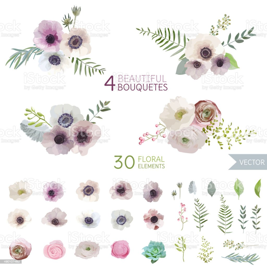 Flowers and Leaves - in Watercolor Style vector art illustration