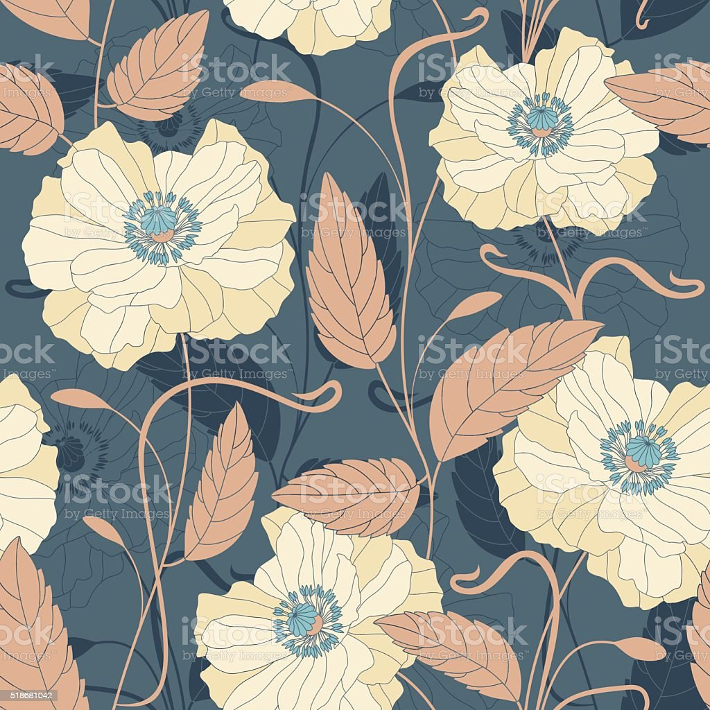 flowers and leaves vector art illustration