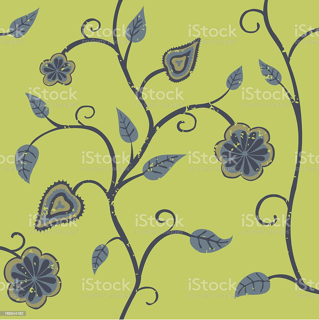 Flowers and Leaves Wallpaper royalty-free stock vector art