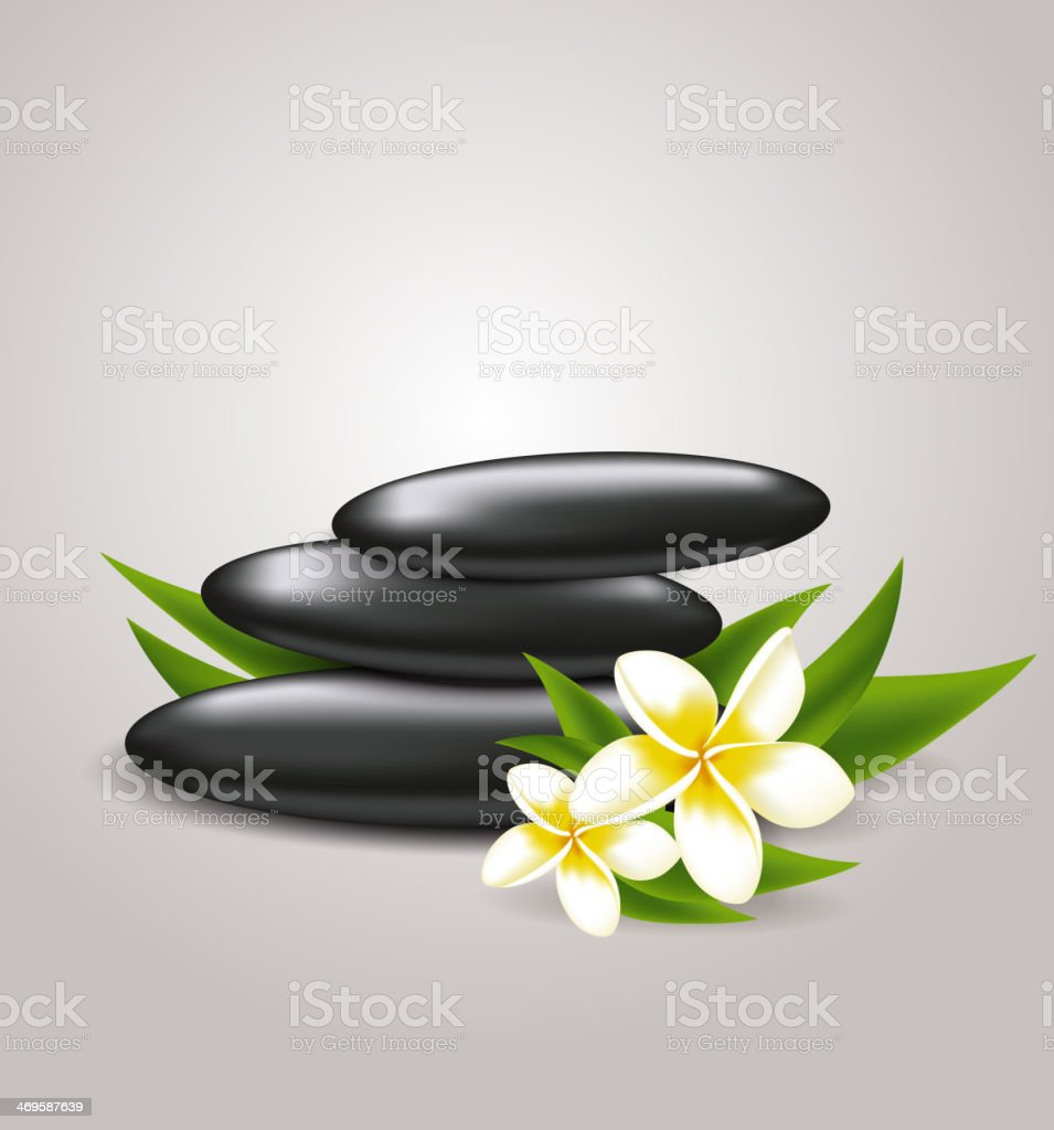 Flowers and spa stones vector art illustration
