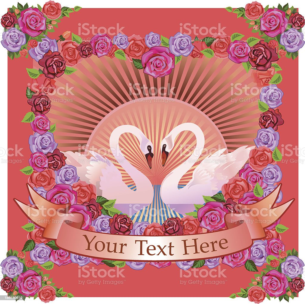 Flowers and Swans vector art illustration