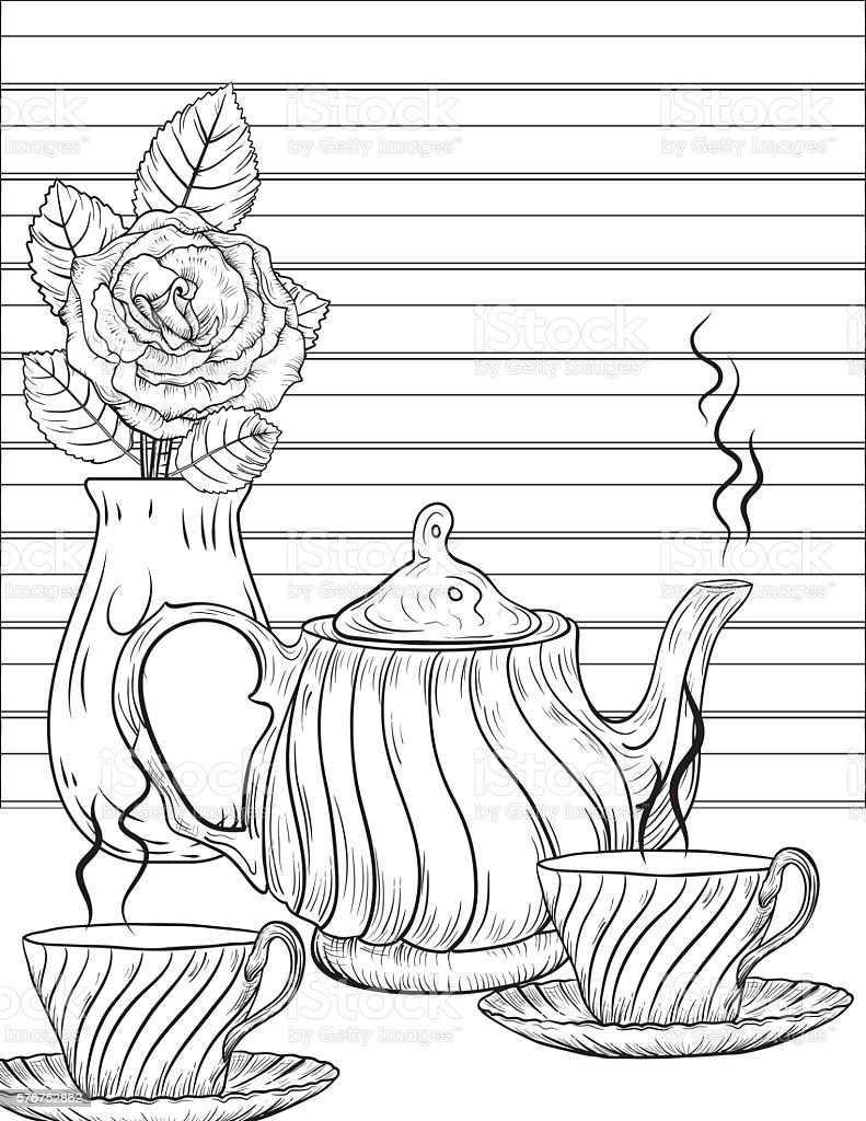 Flowers and Tea Adult Coloring Page. vector art illustration