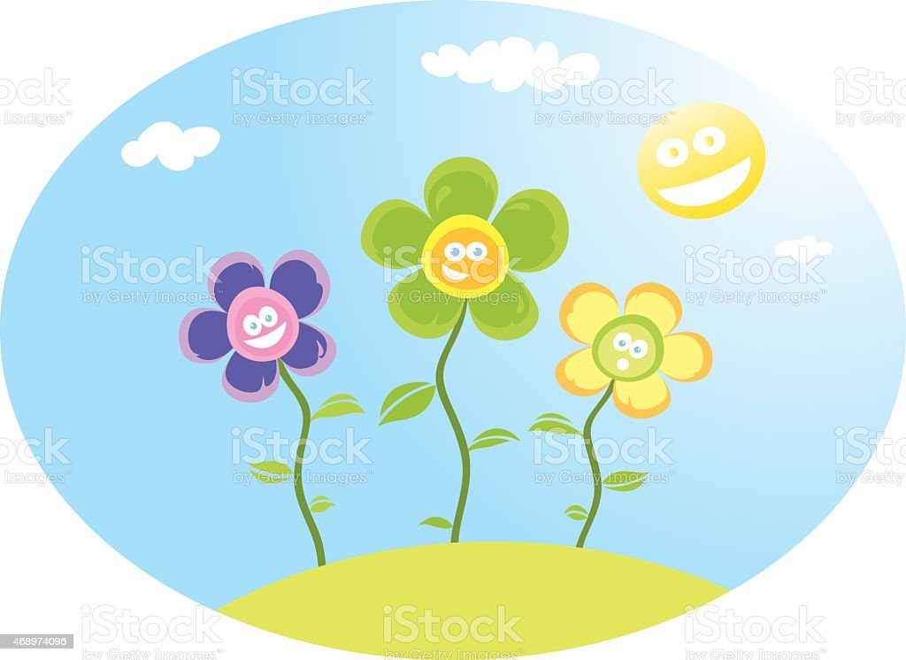 Flowers at the sun vector art illustration