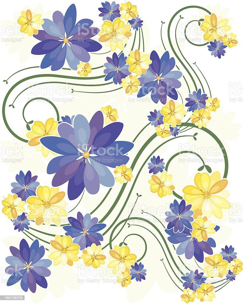 Blumen Hintergrund: Blau, Gelb, Grün Lizenzfreies vektor illustration