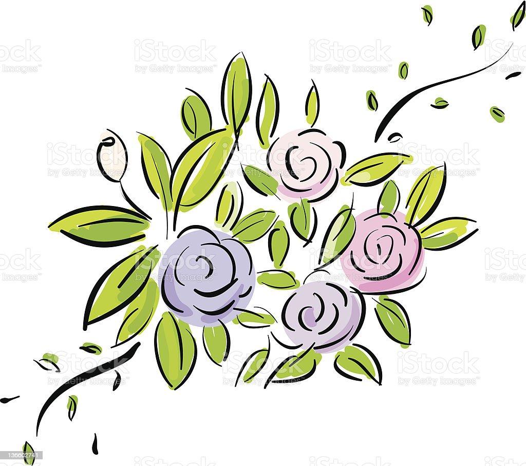 flowers blooming vector art illustration