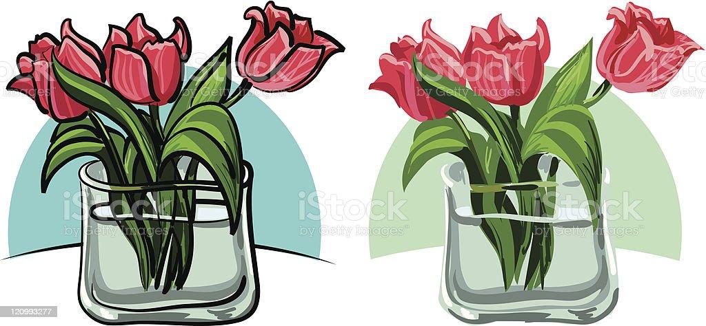 flowers, bouquet of tulips vector art illustration