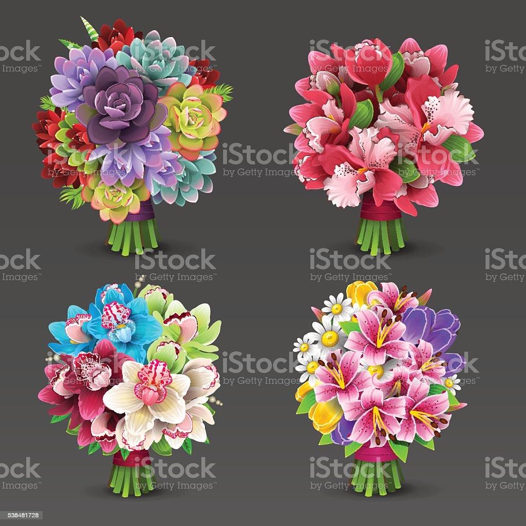 Flowers bouquet set vector art illustration