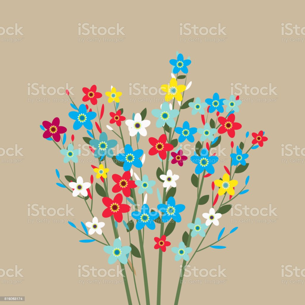 flowers bouquet, spring flowers, vector art illustration