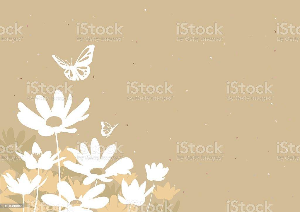 Flowers & Butterflies vector art illustration